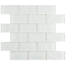 "Sierra 1.88"" x 3.75"" Glass Mosaic Tile in Ripple White"