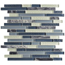 "Sierra 11.75"" x 11.875"" Glass and Natural Stone Mosaic Tile in Gulf"
