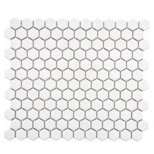 "Retro 0.875"" x 0.875"" Hex Porcelain Mosaic Tile in Glossy White"