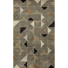 Fantasy Triangles Grey Area Rug