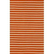 Sorrento Pinstripe Paprika Orange Indoor/Outdoor Area Rug