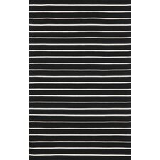 Sorrento Pinstripe Black Indoor/Outdoor Area Rug
