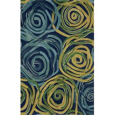 Tivoli Rambling Rose Navy/Yellow Area Rug