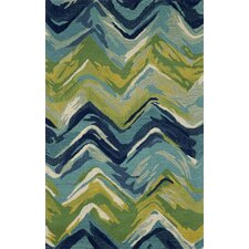 Tivoli Chevron Playa Blue/Green Area Rug