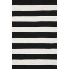 Sorrento Rugby Stripe Black & Ivory Indoor/Outdoor Area Rug