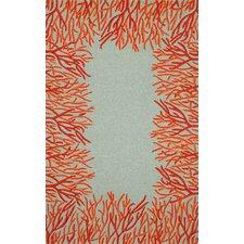 Spello Orange Coral Border Orange/Blue Outdoor Area  Rug