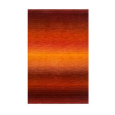 Ombre Orange/Dark Red Sunrise Solid Area Rug