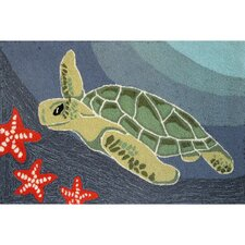Frontporch Blue Ocean Sea Turtle Area Rug