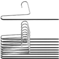 Trouser Non-Slip Hanger Double Rod with Reverse Hook (Set of 10)