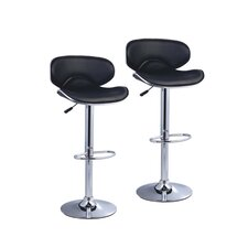 Phil Adjustable Height Swivel Bar Stool with Cushion (Set of 2)