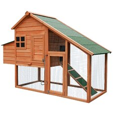 Wooden Chicken Coop with Fence and Ramp
