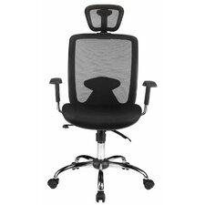 High-Back Mesh Office Chair with Headrest and Lumbar Support Reclining