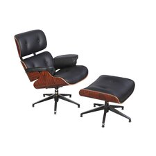 High Grade Plywood Upholstered Lounge Chair and Ottoman Set (Set of 2)