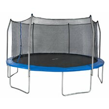 15' Round Trampoline and Safety Enclosure Set with Spring Pad