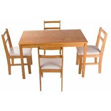 Merax Stylish 5-Piece Solid Pine Wood Dining Table Set