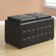 Faux Leather Storage Tray Ottoman