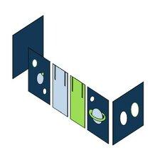 Vorhang in Space für 200cm x 90cm halbhohes Bett