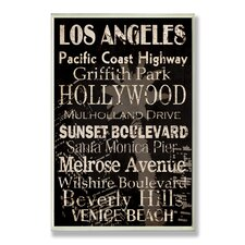 Los Angeles Cities and Words Textual art Plaque