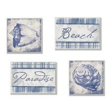 Beach, Paradise, and Seashells 4 Piece Textual art Plaque Set