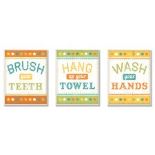 The Kids Room Brush Your Teeth, Hang Your Towel and Wash Your Hands 3 pc Wall Plaque Set