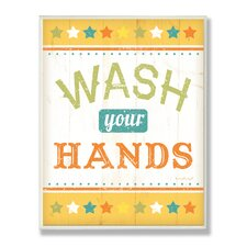 The Kids Room Wash Your Hands Yellow Stars Wall Plaque