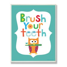 The Kids Room Blue Brush Your Teeth Owl Wall Plaque