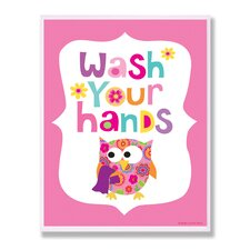 The Kids Room Pink Wash Your Hands Owl Wall Plaque