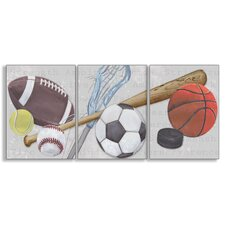 The Kids Room Sports Balls Triptych Wall Plaque (Set of 3)