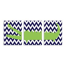 The Kids Room 3 Piece Alligator with Chevron Triptych Wall Plaque Set