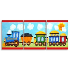 The Kids Room Choo Choo Train In The Sun Oversized Triptych 3 pc Wall Plaque Set