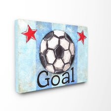 The Kids Room Goal Stripe Star Wrapped Canvas Wall Art