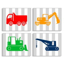 The Kids Room Construction Vehicles on Stripes 4 pc Wall Plaque Set