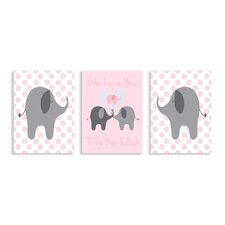 The Kids Room We Love You Elephants Triptych 3 Piece Wall Plaque Set