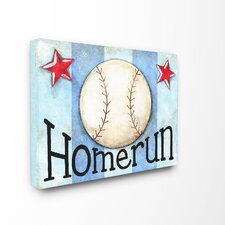 The Kids Room Home Run Stripe Star Wrapped Canvas Wall Art