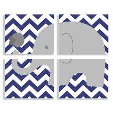 The Kids Room Elephant & Birdie on Chevron 4 Piece Wall Plaque Set