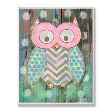 The Kids Room Distressed Woodland Owl Wrapped Canvas Wall Art