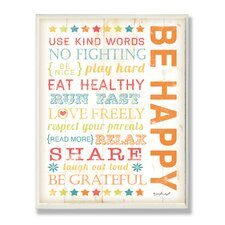 The Kids Room Be Happy Kids Typography Wall Plaque