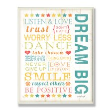 The Kids Room Dream Big Kids Typography Wrapped Canvas Wall Art