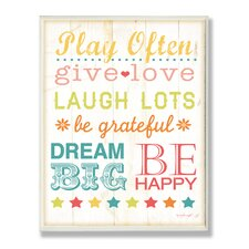 The Kids Room Play Fair Give Love Typography Wall Plaque