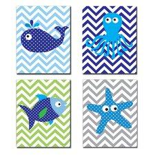 The Kids Room Sea Creatures with Chevron Quad 4 Piece Wall Plaque Set
