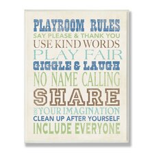 The Kids Room Blues Playroom Rules Typography Wall Plaque