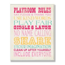 The Kids Room Pink Playroom Rules Typography Rectangle Wall Plaque
