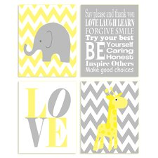 The Kids Room Zigzag Elephant 4 Piece Wall Plaque Set