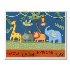 The Kids Room Grow Laugh Explore Play Jungle Animals Wrapped Canvas Wall Art