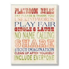 The Kids Room Playroom Rules Typography Wrapped Canvas Wall Art