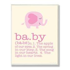 The Kids Room Pink Elephant Baby Typography by Ellen Crimi-Trent Graphic Art Plaque