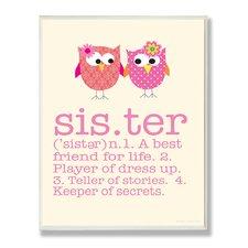 The Kids Room Owl Sister Typography by Ellen Crimi-Trent Graphic Art Plaque