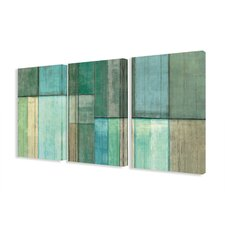 Blue and Green Abstract 3 pc Graphic Art Wrapped on Canvas Set