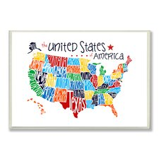 The Kids Room USA Map by Erica Billups Textual Art Plaque