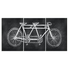 Chalkboard Look Tandem Bicycle Triptych 3 pc by Susan Newberry Graphic Art Plaque Set